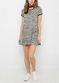 Black Jersey Knit Ringer Dress