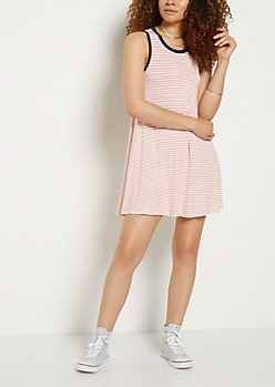 Peach Striped Cutout Back Ringer Swing Dress