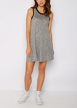 Heather Gray Cutout Back Ringer Swing Dress