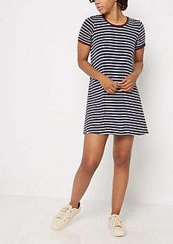 Navy & White Striped Ringer Dress