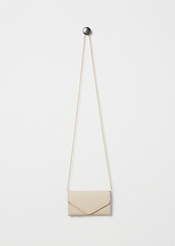 Taupe Envelope Crossbody Mini Bag