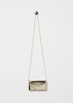 Metallic Gold Envelope Crossbody Mini Bag