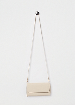Taupe Faux Leather Crossbody