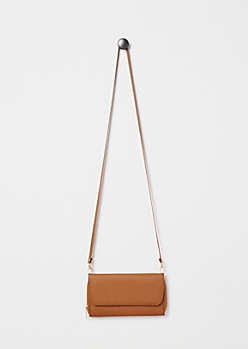Cognac Faux Leather Crossbody