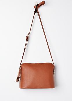 Cognac Tasseled Crossbody Bag