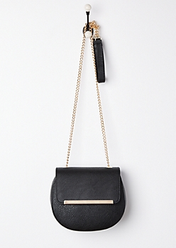 Black Washed Faux Leather Crossbody