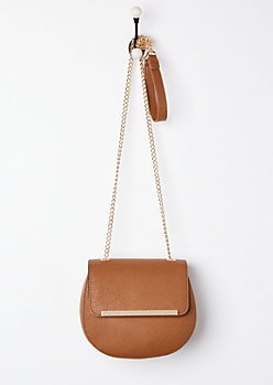Cognac Washed Faux Leather Crossbody