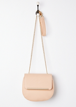 Pink Washed Faux Leather Crossbody
