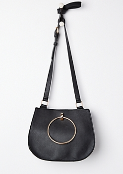 Black Metal Ring Crossbody Bag