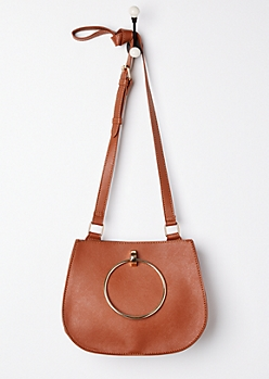 Cognac Metal Ring Crossbody Bag