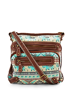 Turquoise Mint Tribal Elephant Washed Cross Body