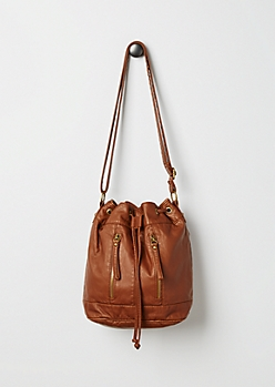 Brown Washed Faux Leather Bucket Bag