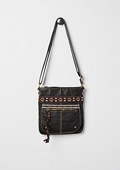 Black Washed & Embroidered Cross Body Bag