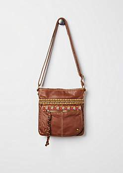 Brown Washed & Embroidered Cross Body Bag