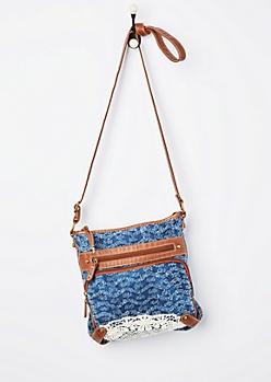 Frayed Denim Crossbody Bag
