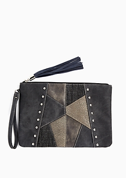 Black Patchwork Oversized Clutch