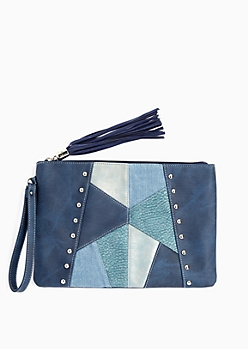 Navy Patchwork Oversized Clutch
