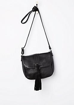 Black Tasseled Saddle Bag