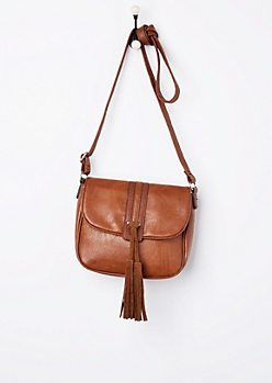 Cognac Tasseled Saddle Bag