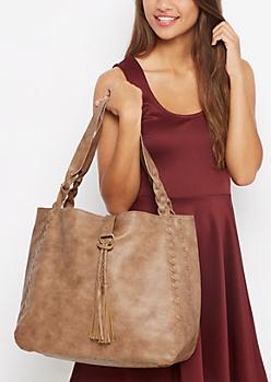 Brown Braided Large Tote Bag