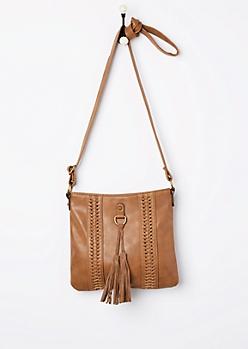 Cognac Braided Boho Crossbody Bag
