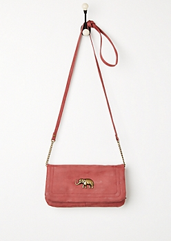 Burgundy Antique Elephant Crossbody