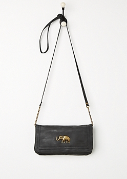 Black Antique Elephant Crossbody