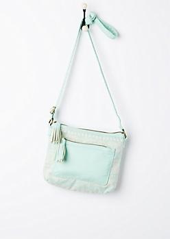 Mint Folklore Washed Crossbody Bag
