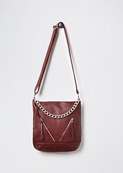 Burgundy Zipped Hobo Bag