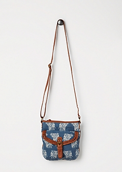 Tribal Elephant Denim Crossbody Bag