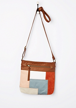 Patchwork Faux Leather Crossbody Bag