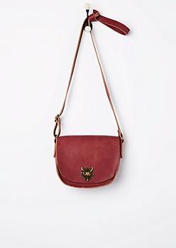 Burgundy Desert Steer Saddle Bag