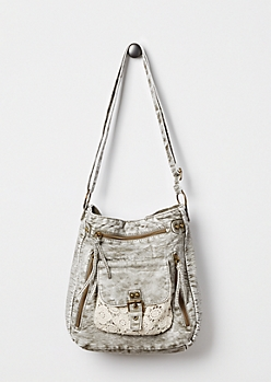 Gray Crochet Washed Crossbody by T-Shirt & Jeans®