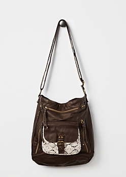 Brown Crochet Washed Crossbody by T-Shirt & Jeans®