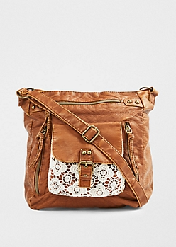 Crochet Pocket Washed Cross Body by T-Shirt & Jeans®