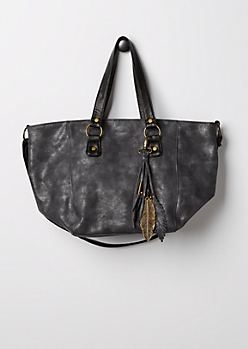 Feathered Faux Leather Tote Bag