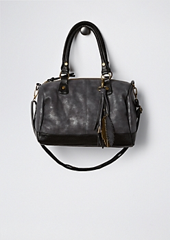 Feathered Faux Leather Satchel