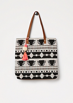 Black Rainbow Aztec Woven Tote by T-Shirt & Jeans®