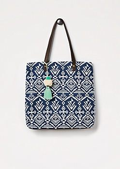 Navy Aztec Woven Tote by T-Shirt & Jeans®