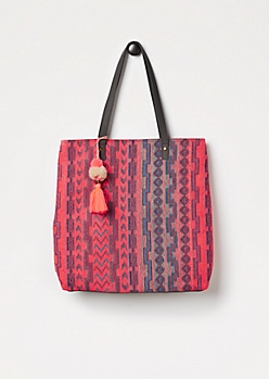 Neon Orange Aztec Woven Tote by T-Shirt & Jeans®