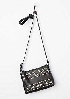 Black Washed & Studded Crossbody Bag