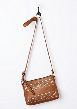 Cognac Washed & Studded Crossbody Bag