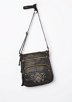 Black Tribal Embroidered Washed Crossbody Bag