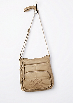 Taupe Tribal Embroidered Washed Crossbody Bag