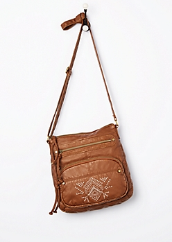 Cognac Tribal Embroidered Washed Crossbody Bag