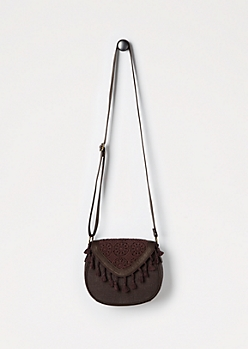 Embroidered Medallion Crossbody Bag