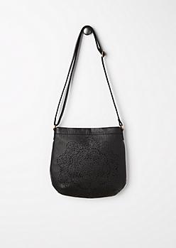 Black Blossom Medallion Crossbody Bag