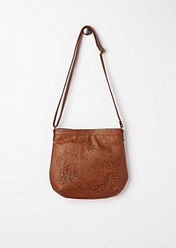 Cognac Blossom Medallion Crossbody Bag
