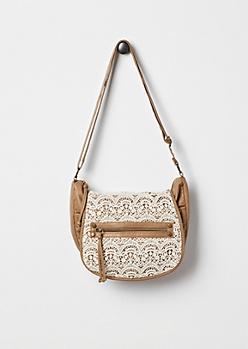 Tan Crochet Inset Messenger Bag by T-Shirt & Jeans®