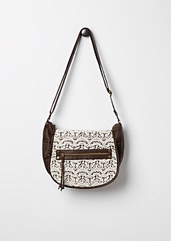 Brown Crochet Inset Messenger Bag by T-Shirt & Jeans®